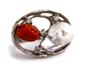 Inel Coral și Perlă de Cultură0