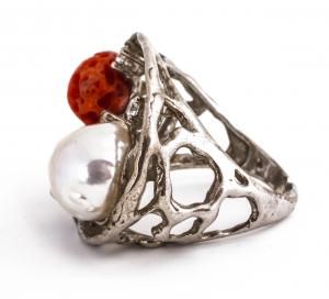 Inel Coral și Perlă de Cultură1
