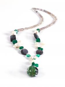 Colier Creaţie Sheba Agat Verde, Perle de Cultură, Sidef, Cuarţ0