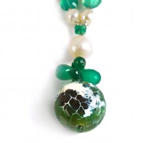 Colier Creaţie Sheba Agat Verde, Perle de Cultură, Sidef, Cuarţ1