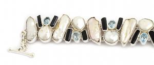 Brățară din Argint cu Perle de Cultură, Topaz și Turmalină Neagră1