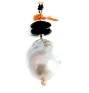 Colier Creaţie  din  Perlă Baroc, Agat, Onix, Coral cu Argint1