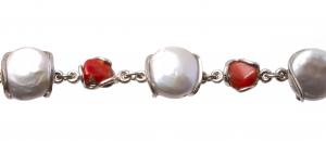 Brățară din  Argint cu Perle de Cultură și Coral1
