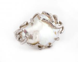 Inel  din Argint cu Perlă de Cultură0