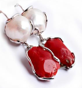 Cercei din Argint cu Perle de Cultură și Coral1