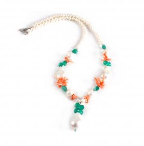 Colier Creaţie din  Perlă Baroc, Agat Verde, Coral cu Argint0