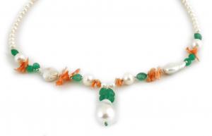 Colier Creaţie din  Perlă Baroc, Agat Verde, Coral cu Argint1