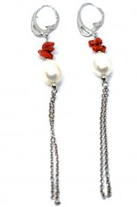 Cercei cu Coral, Perla si Argint2
