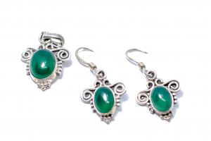 Set Cercei si Pandantiv Agat Verde si Argint0