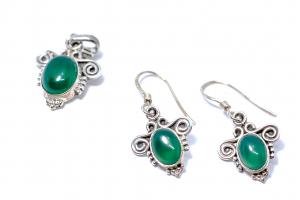 Set Cercei si Pandantiv Agat Verde si Argint2