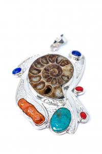 Pandantiv Melc Fosilizat,Coral,Turcoaz,Lapislazuli0