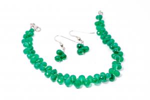 Set Bratara si Cercei Agat Verde Briolete0