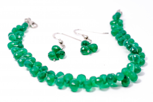 Set Bratara si Cercei Agat Verde Briolete1