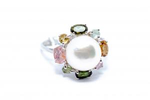 Inel din Argint cu Perla si Turmalina [0]