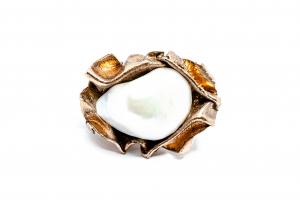 Inel  din Argint Aurit  cu Perla Baroca0