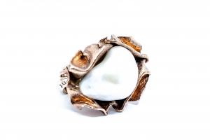 Inel  din Argint Aurit  cu Perla Baroca1