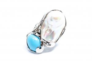 Inel  din Argint cu Turcoaz ,Perla0