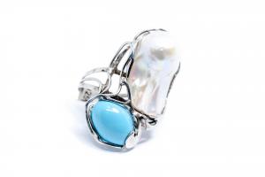 Inel  din Argint cu Turcoaz ,Perla1