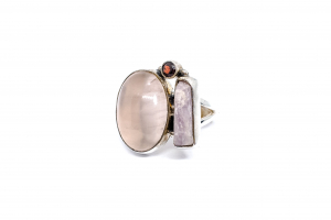Inel din Argint cu Granat si Cuart Roz1