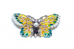 Broșă Fluture Email,Perla,Ametist,Rubin0