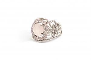 Inel din Argint cu Cuart Roz si  Zirconiu1
