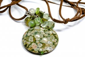 Pandantiv Riolit, Prehnit, Ametist Verde și Argint0