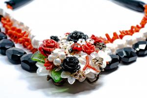 Colier Creatie din Onix , Coral si Perla cu Argint [0]