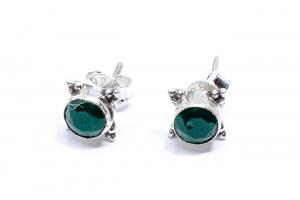 Cercei Agat Verde si Argint0