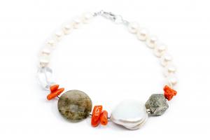 Bratară Creaţie Perlă, Coral,Pirită, Cuart0