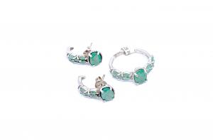 Set Cercei si Inel din Argint cu Smarald1