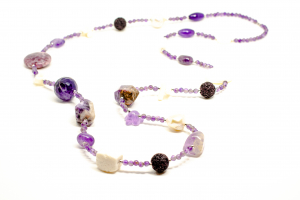 Colier Creatie din Ametist , Perla , Coral cu Argint0