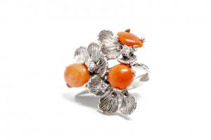 Inel din Argint  Reglabil cu Floare Coral si Zirconiu2