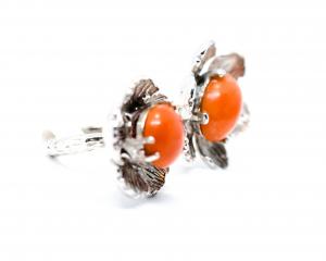 Inel  din Argint Reglabil cu  Floare Coral1