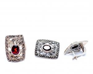 Set Inel si Cercei din Argint cu Granat si Marcasite1