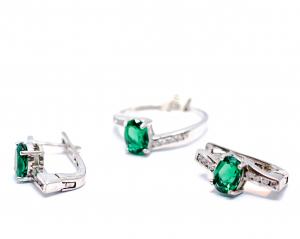 Set Inel si Cercei din Argint cu  Zirconiu Verde1