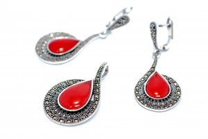 Set Coral si Marcasite0