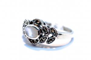 Inel din Argint cu Sidef si Marcasite0