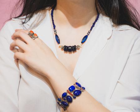 Bratara din Argint cu Coral si Lapis Lazuli [2]