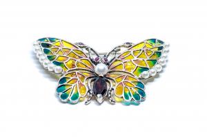 Broșă Fluture Email,Perla,Ametist,Rubin1