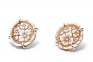 Cercei din Argint cu Floare Camee1
