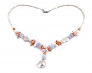 Colier Creaţie din  Perlă Baroc, Coral, Calcedonie cu Argint0