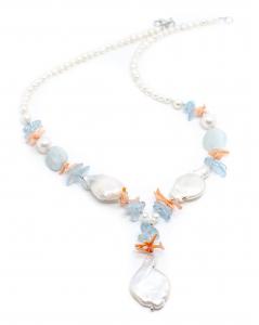 Colier Creatie Perla,Coral,Acvamarin1