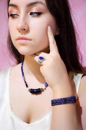 Colier Creatie cu Lapis Lazuli, Cuart, Sidef, Perla si Argint [1]