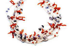 Colier Unicat din Coral, Piatra Lunii, Perla, Lapis Lazuli si Tanzanit2