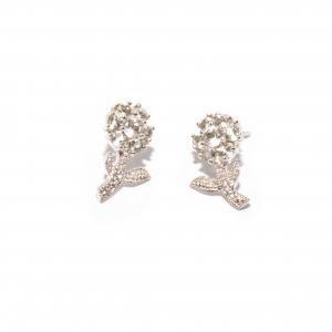 Cercei din Argint Floare cu Zirconiu1