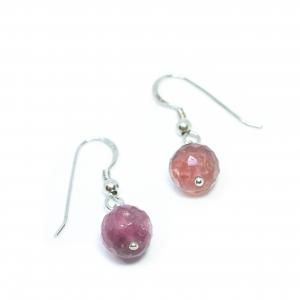 Cercei Creatie din Turmalina Roz cu Argint0