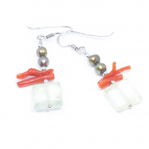 Cercei Creatie Cuart, Coral, Perle si Argint [1]
