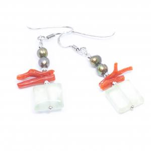 Cercei Creatie Cuart, Coral, Perle si Argint [0]