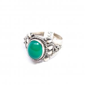 Inel din Argint cu Agat Verde1