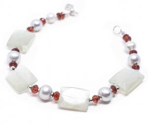 Bratara Creatie cu Perle de Cultura,Granat si Argint1